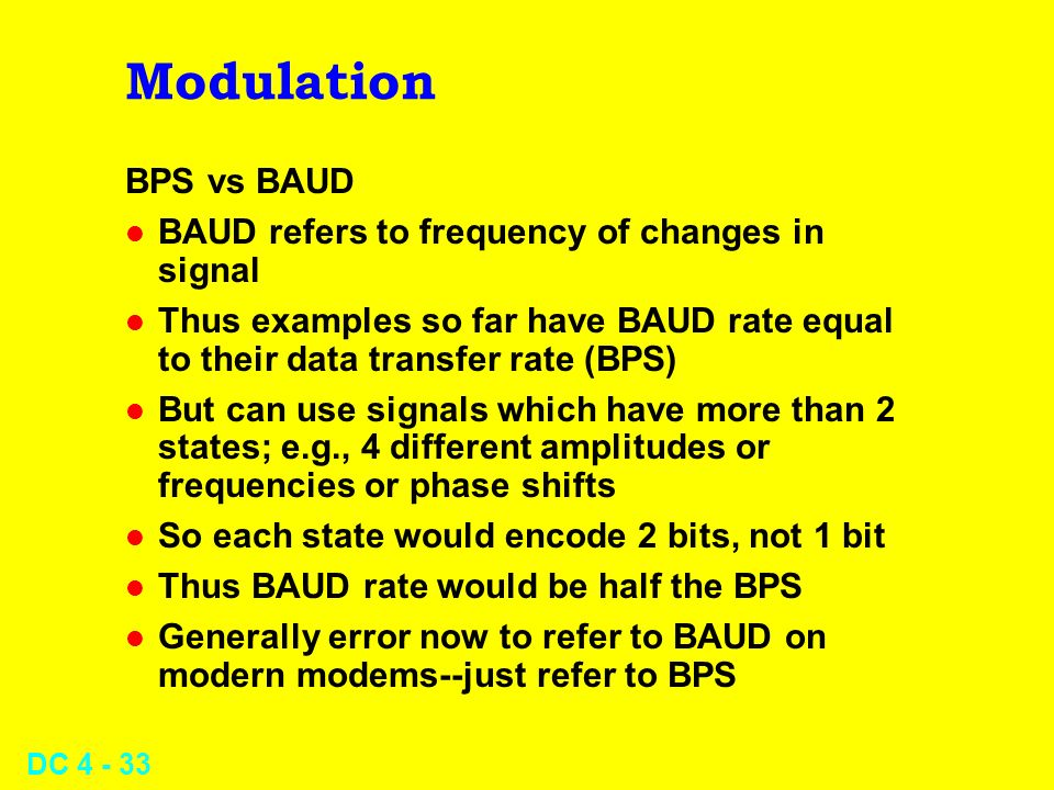 Modulation BPS vs BAUD BAUD refers to frequency of changes in signal