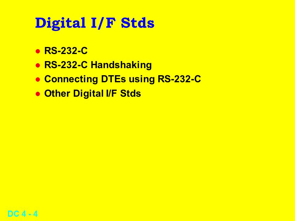 Digital I/F Stds RS-232-C RS-232-C Handshaking