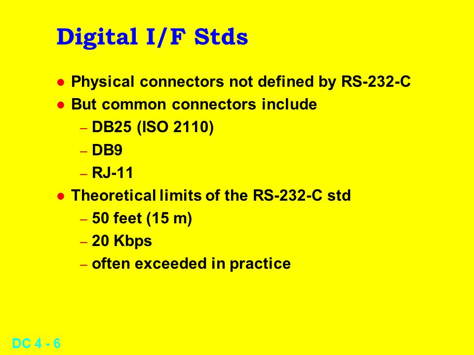 Digital I/F Stds Physical connectors not defined by RS-232-C
