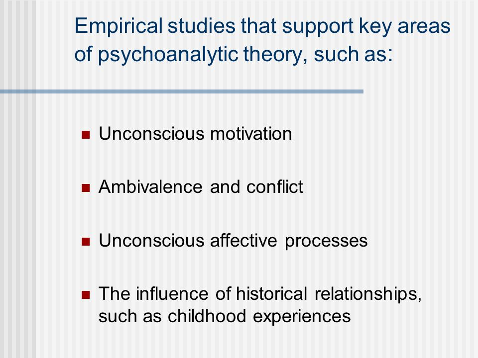 Empirical studies that support key areas of psychoanalytic theory, such as: