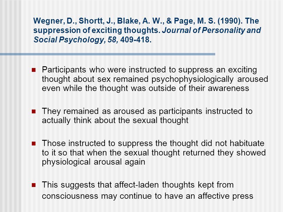 Wegner, D. , Shortt, J. , Blake, A. W. , & Page, M. S. (1990)