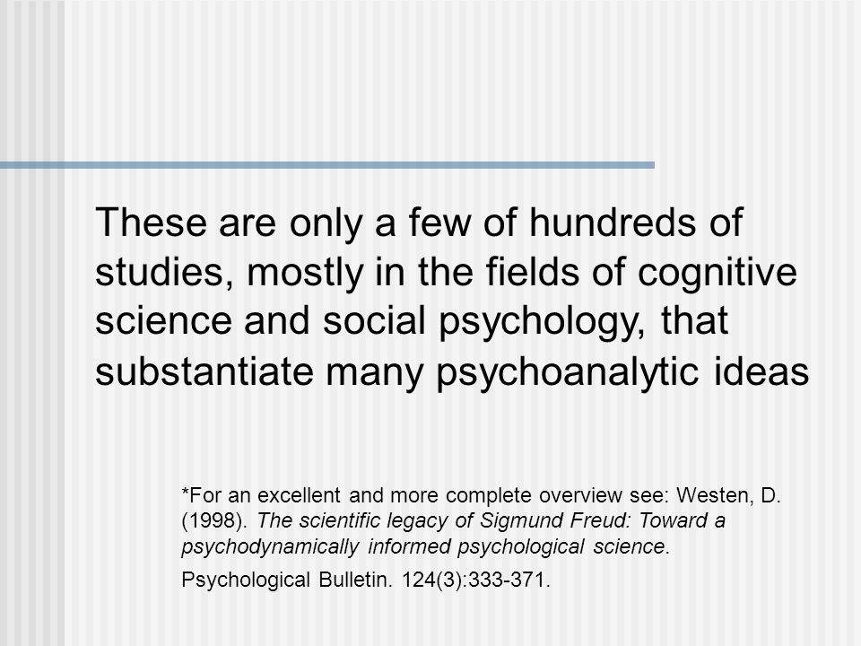 These are only a few of hundreds of studies, mostly in the fields of cognitive science and social psychology, that substantiate many psychoanalytic ideas