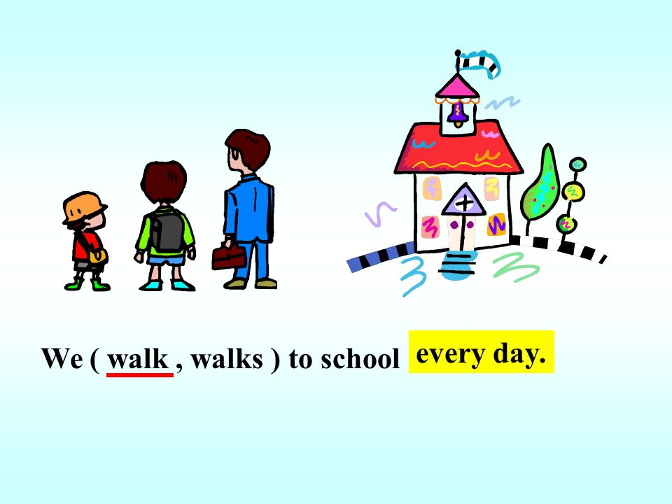 every day. We ( walk , walks ) to school