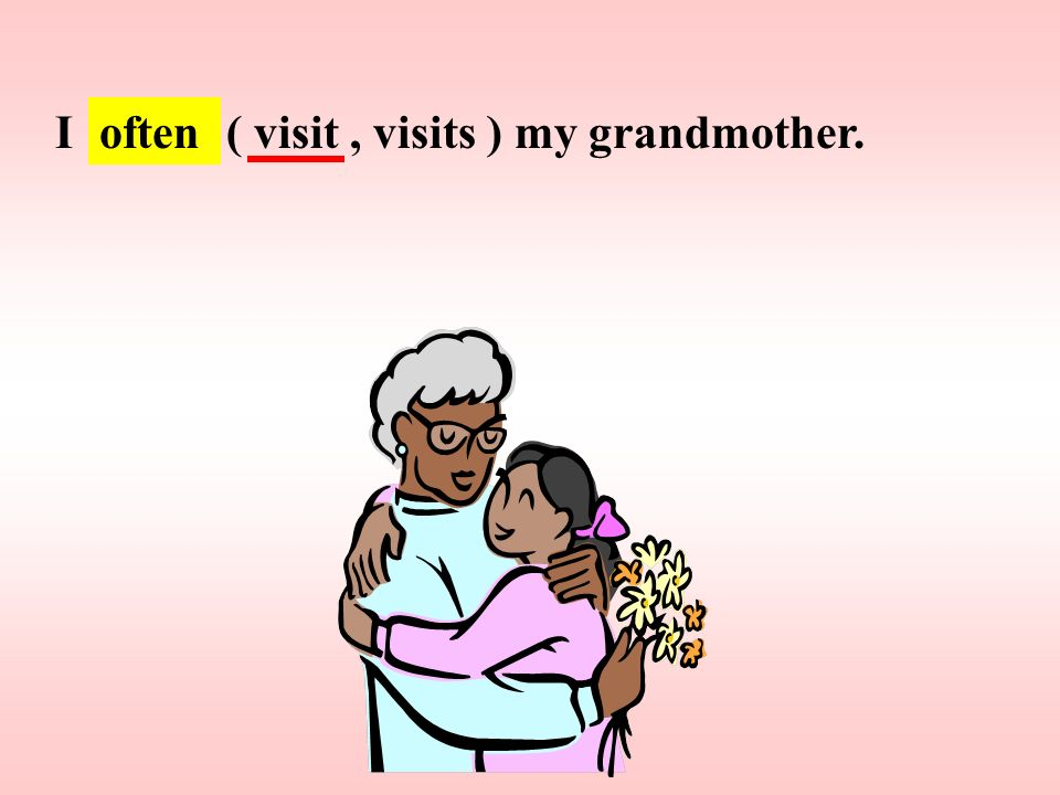 I ( visit , visits ) my grandmother.
