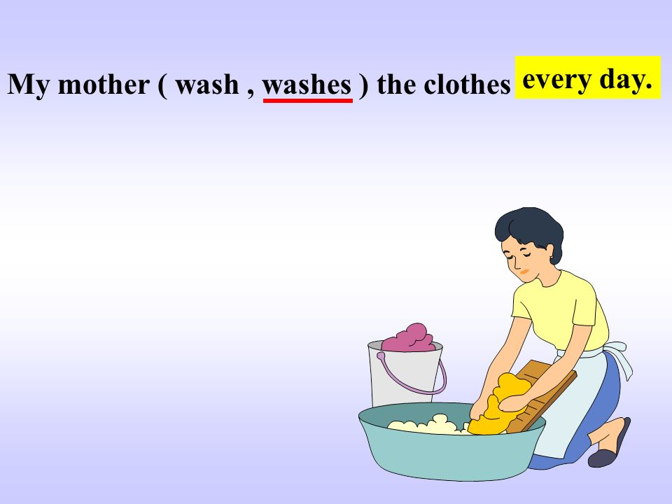 every day. My mother ( wash , washes ) the clothes