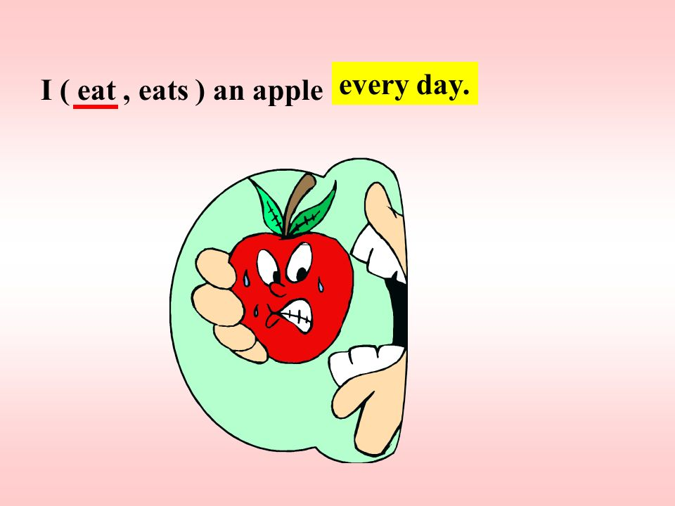 every day. I ( eat , eats ) an apple
