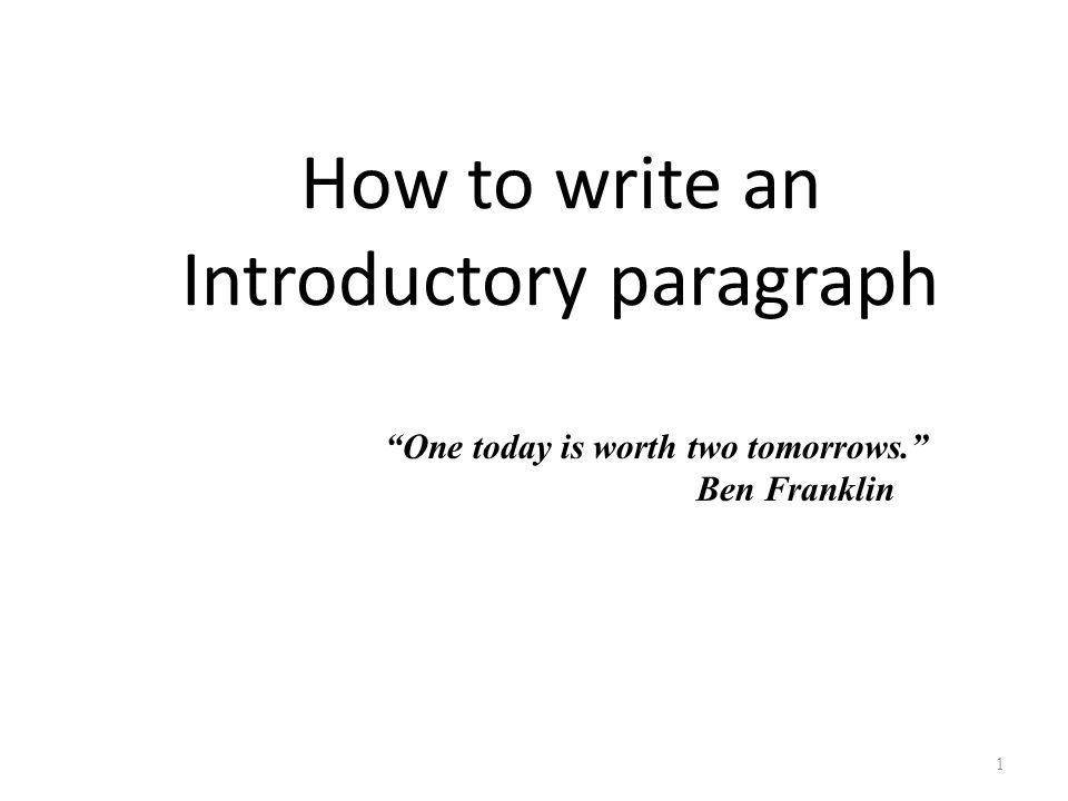 how to write a college level introductory paragraph