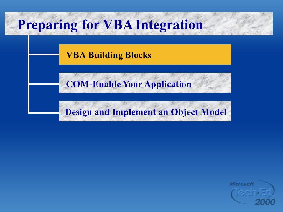 Preparing for VBA Integration