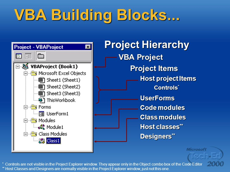 VBA Building Blocks... Project Hierarchy VBA Project Project Items