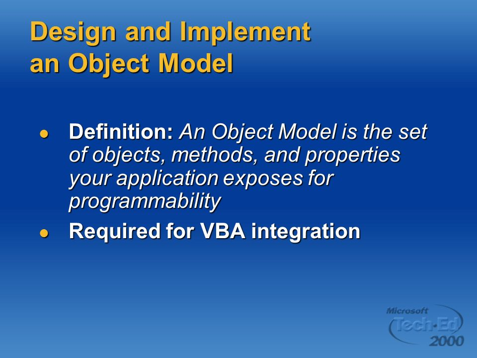 Design and Implement an Object Model
