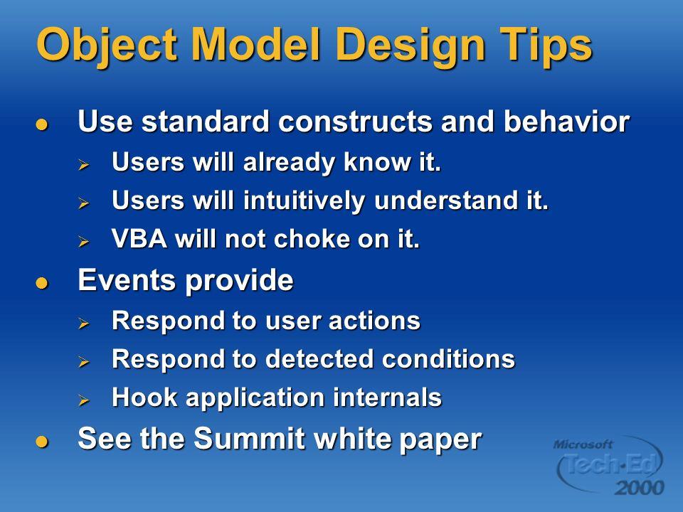 Object Model Design Tips