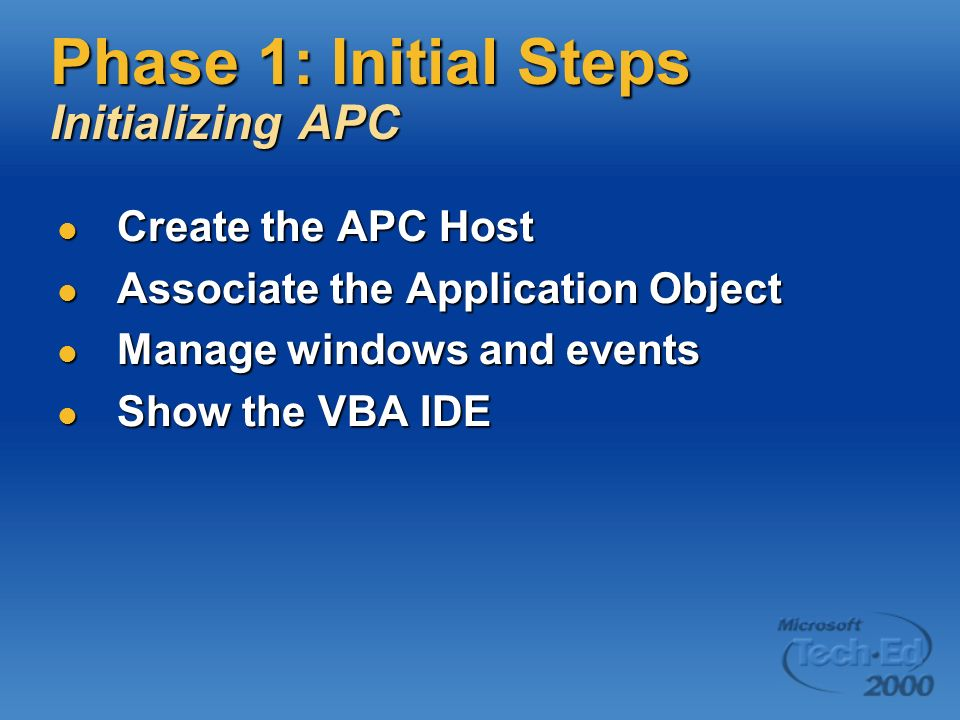 Phase 1: Initial Steps Initializing APC