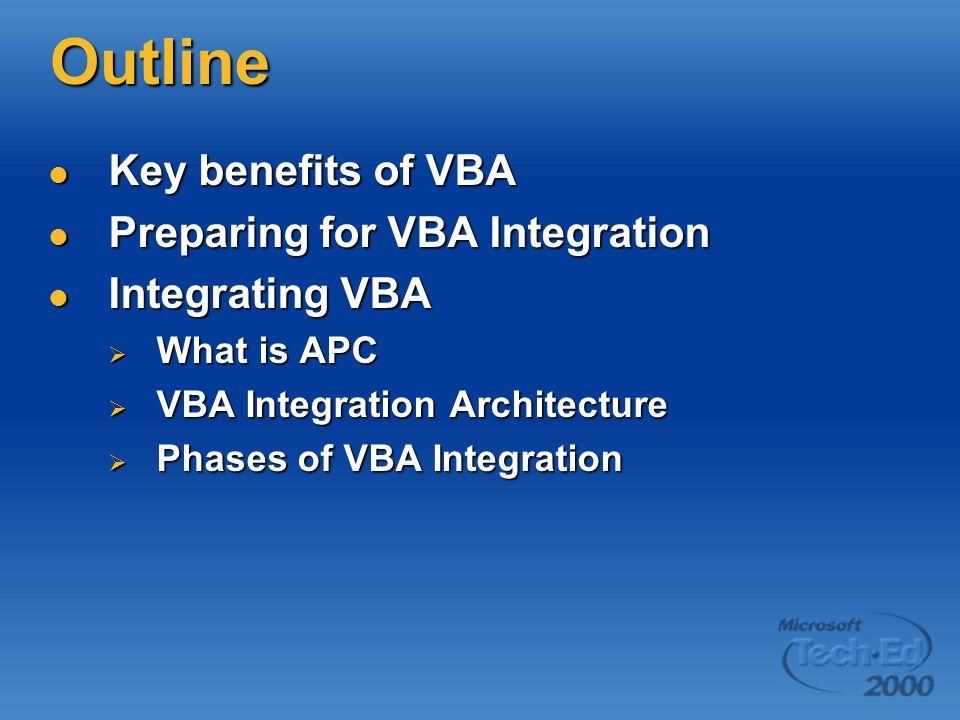 Outline Key benefits of VBA Preparing for VBA Integration