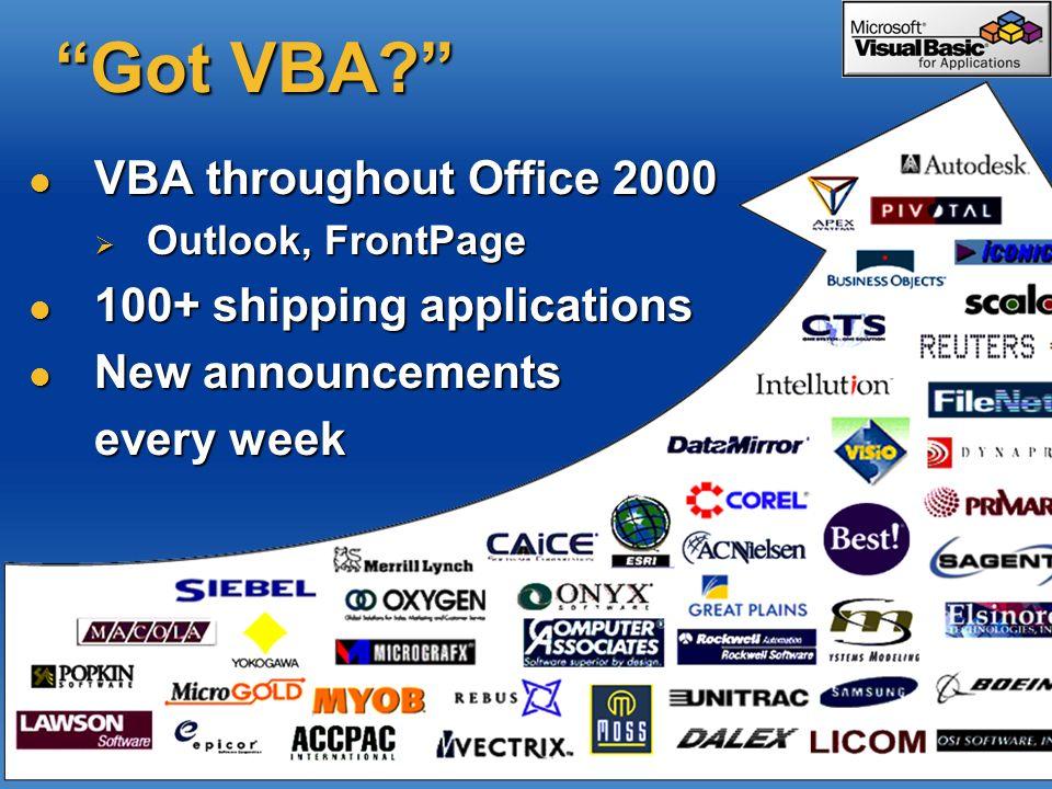 Got VBA VBA throughout Office 2000 100+ shipping applications
