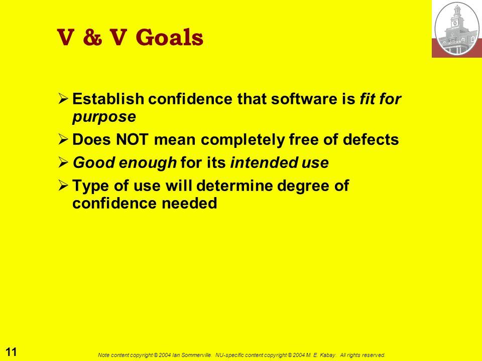 V & V Goals Establish confidence that software is fit for purpose