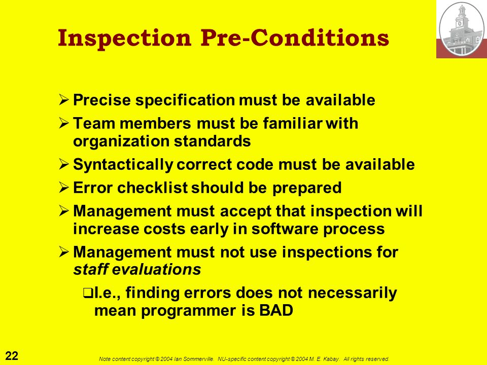 Inspection Pre-Conditions