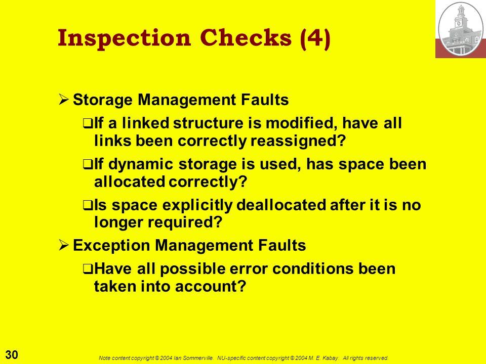 Inspection Checks (4) Storage Management Faults