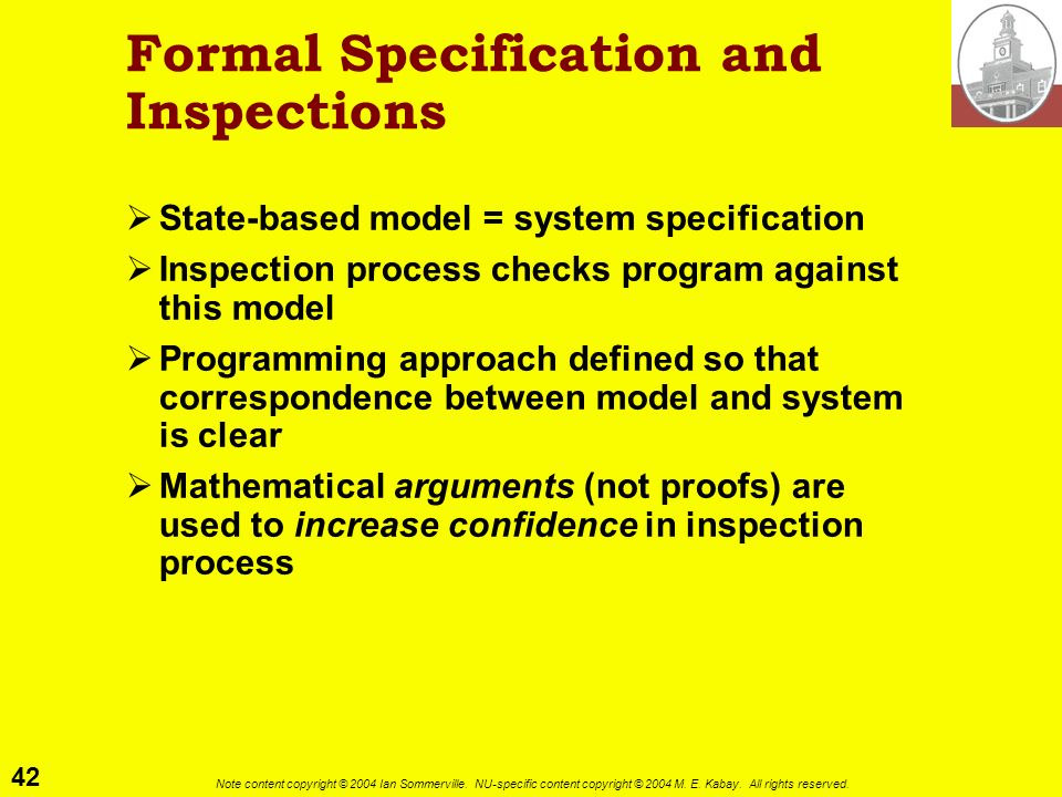 Formal Specification and Inspections
