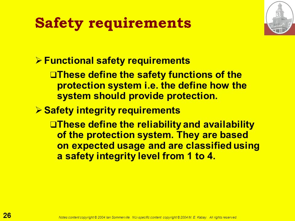 Safety requirements Functional safety requirements