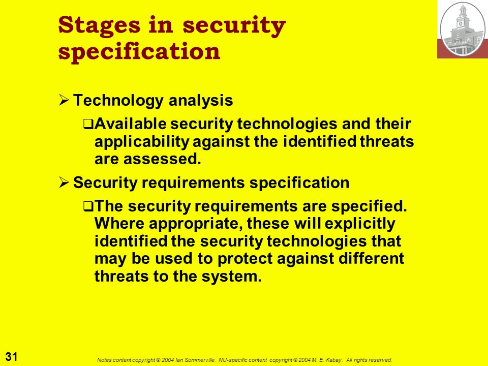 Stages in security specification