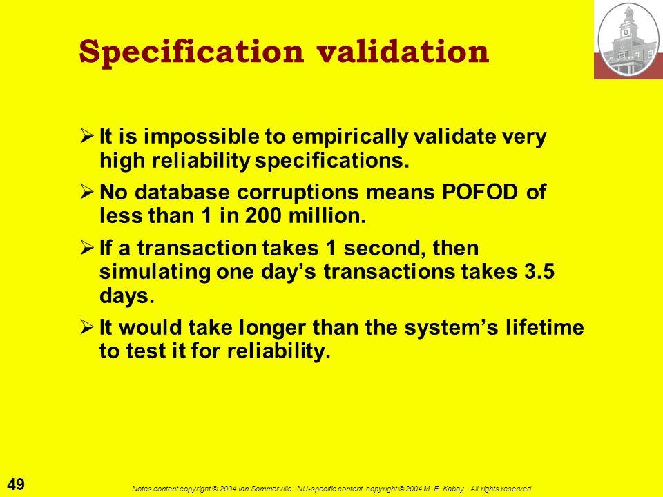 Specification validation