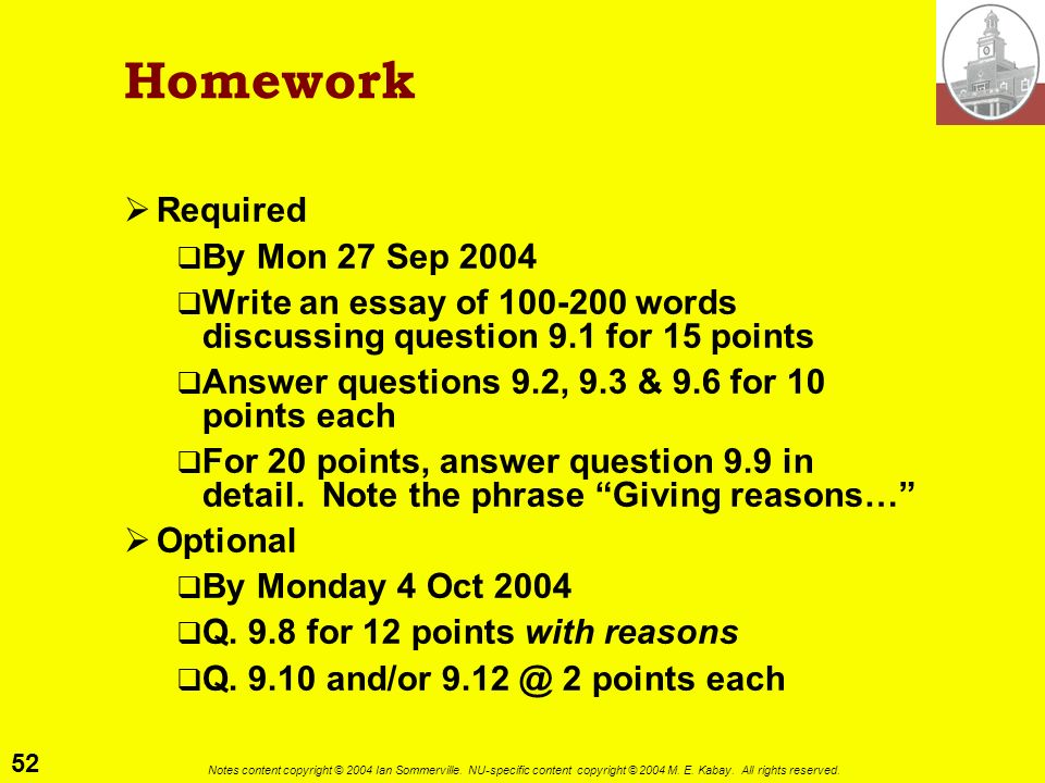 Homework Required By Mon 27 Sep 2004