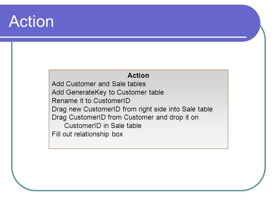 Action Action Add Customer and Sale tables