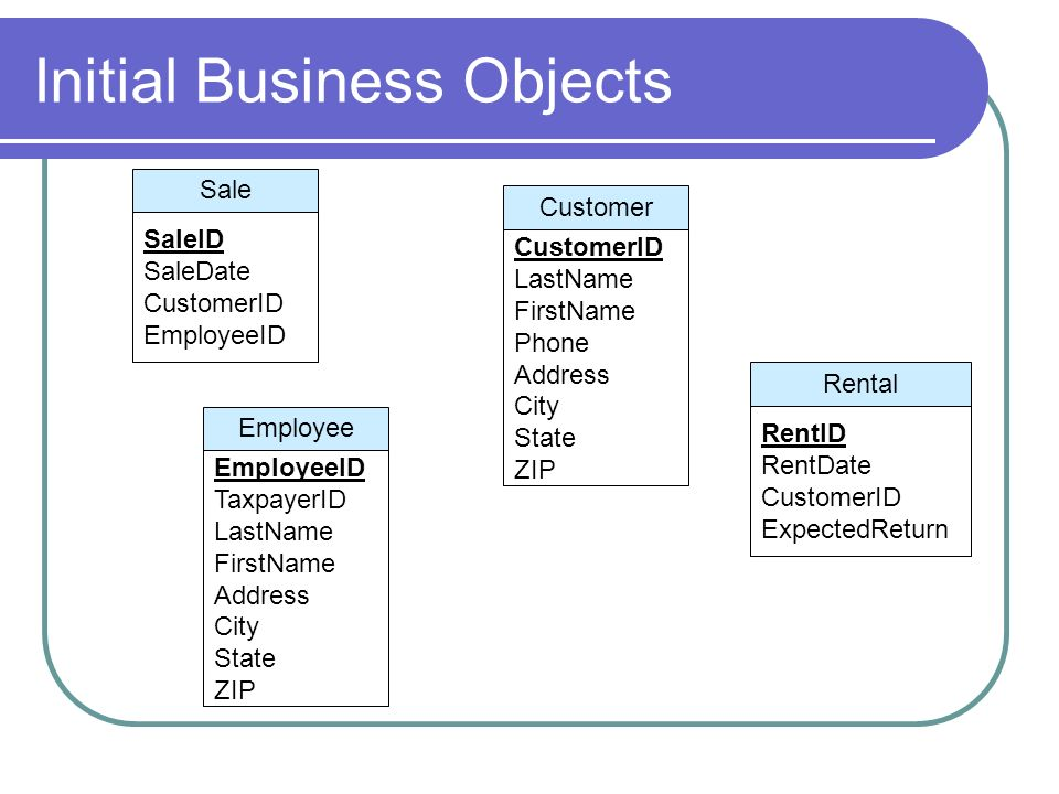 Initial Business Objects