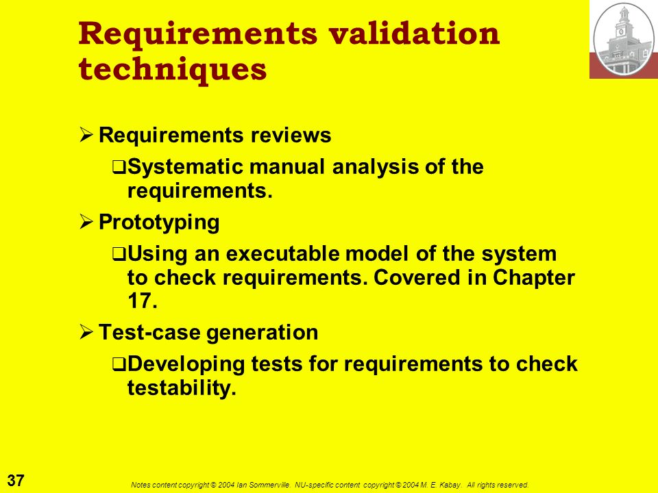 Requirements validation techniques
