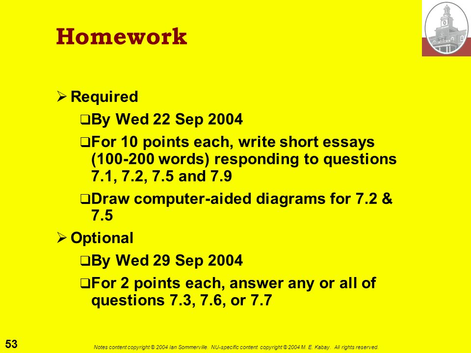 Homework Required By Wed 22 Sep 2004