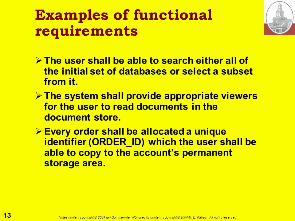 Examples of functional requirements