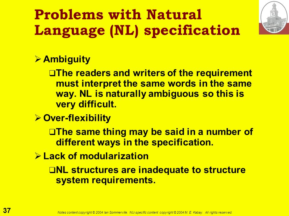Problems with Natural Language (NL) specification
