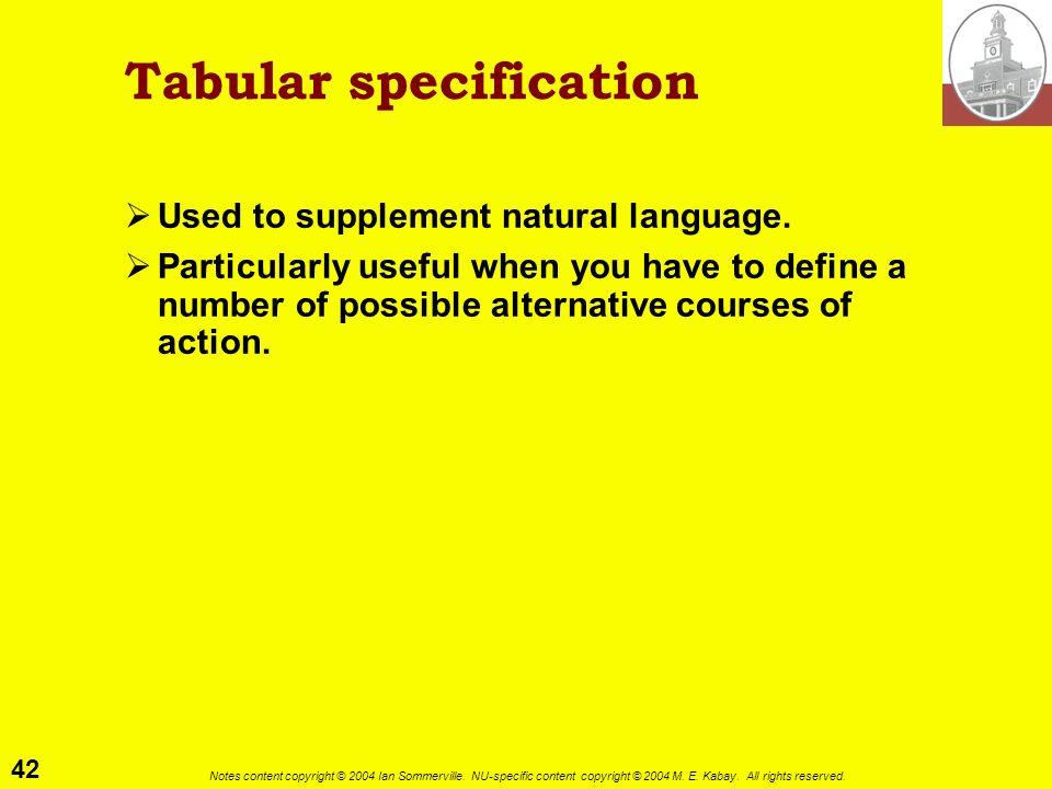 Tabular specification