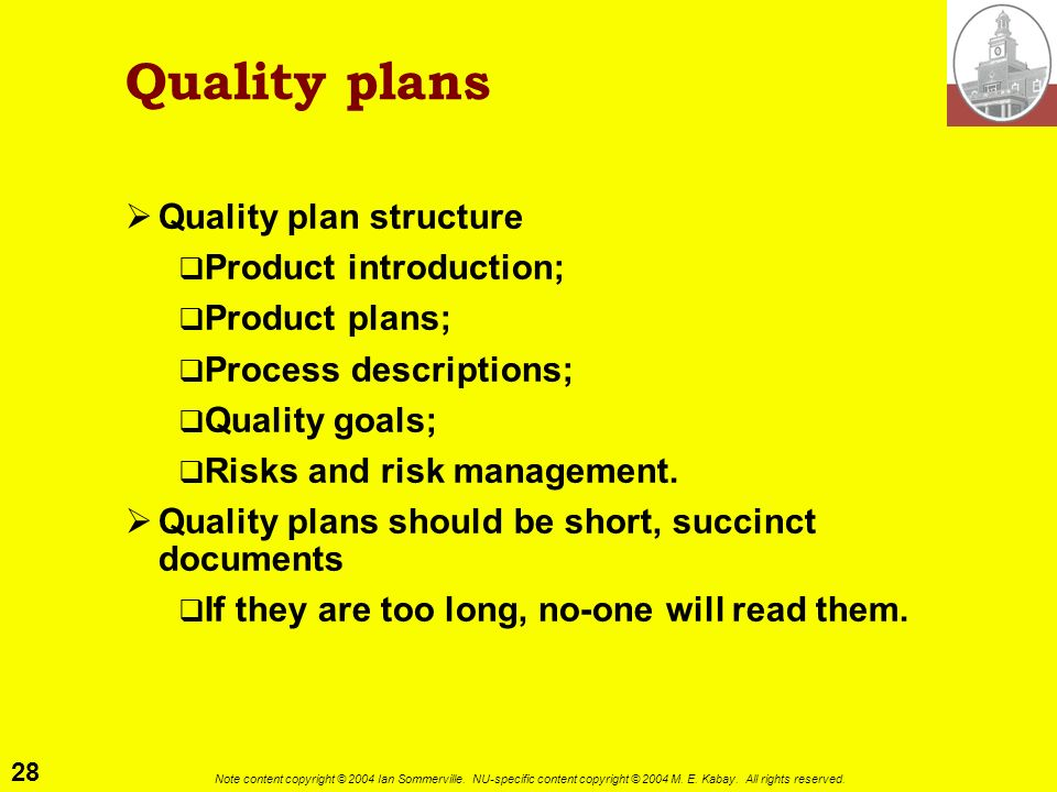 Quality plans Quality plan structure Product introduction;