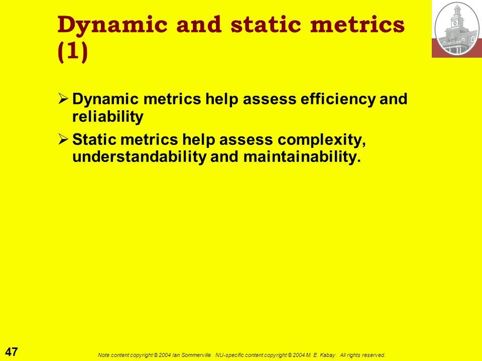 Dynamic and static metrics (1)