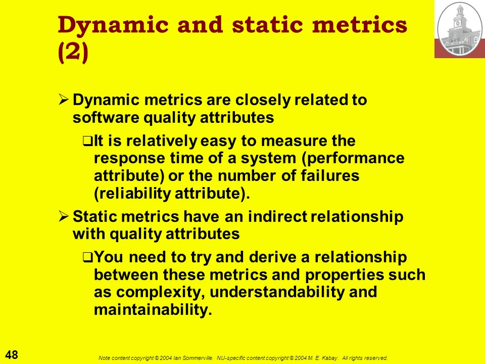 Dynamic and static metrics (2)