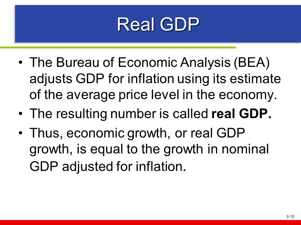 Real GDPThe Bureau of Economic Analysis (BEA) adjusts GDP for inflation using its estimate of the average price level in the economy.