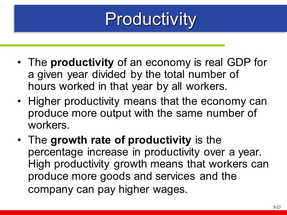ProductivityThe productivity of an economy is real GDP for a given year divided by the total number of hours worked in that year by all workers.