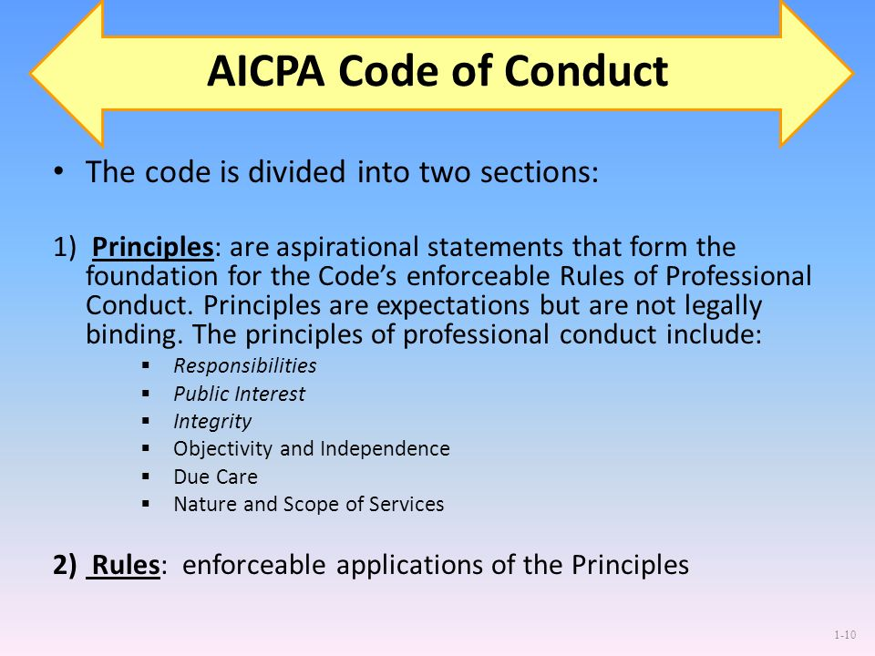 AICPA Code of Conduct The code is divided into two sections: