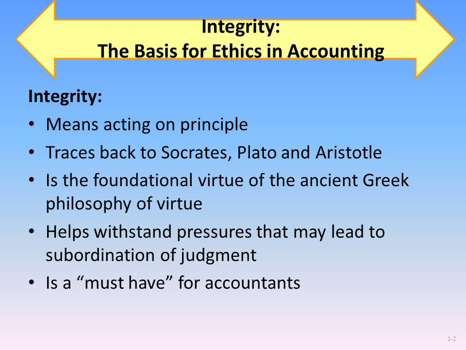Integrity: The Basis for Ethics in Accounting