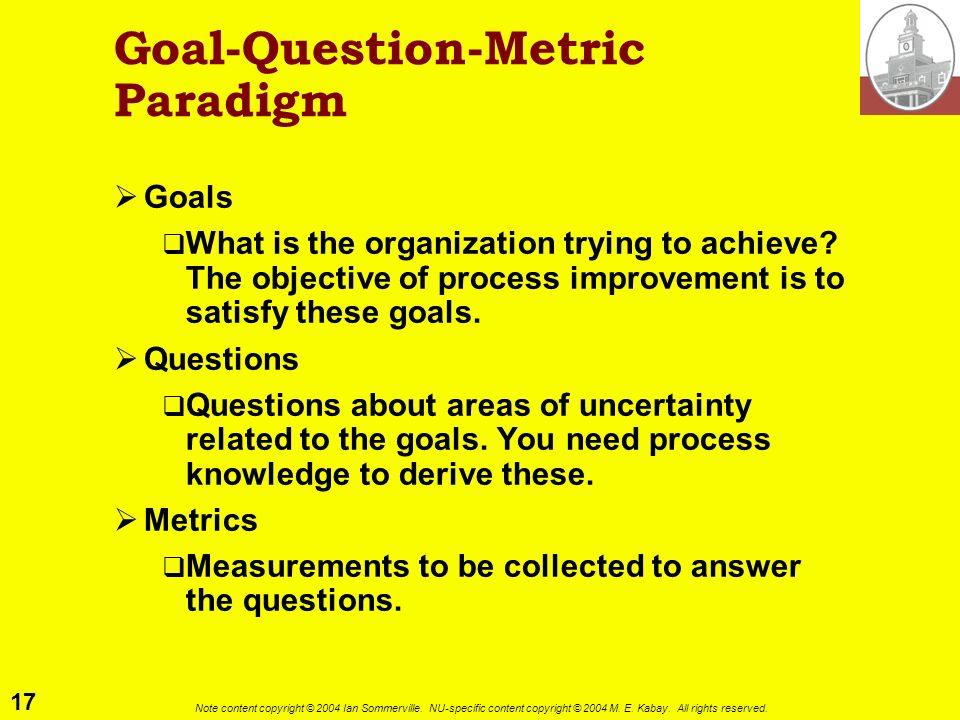Goal-Question-Metric Paradigm