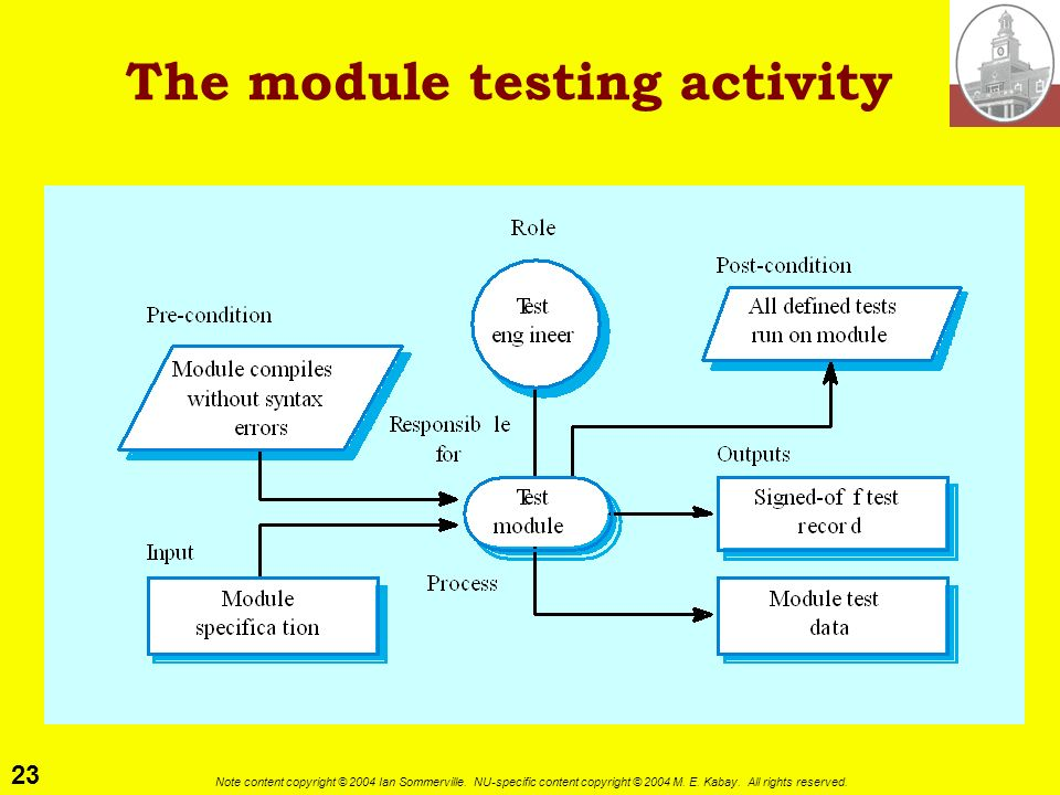 The module testing activity