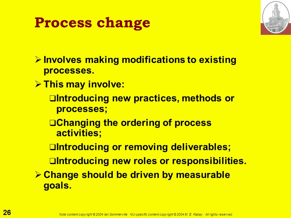 Process change Involves making modifications to existing processes.