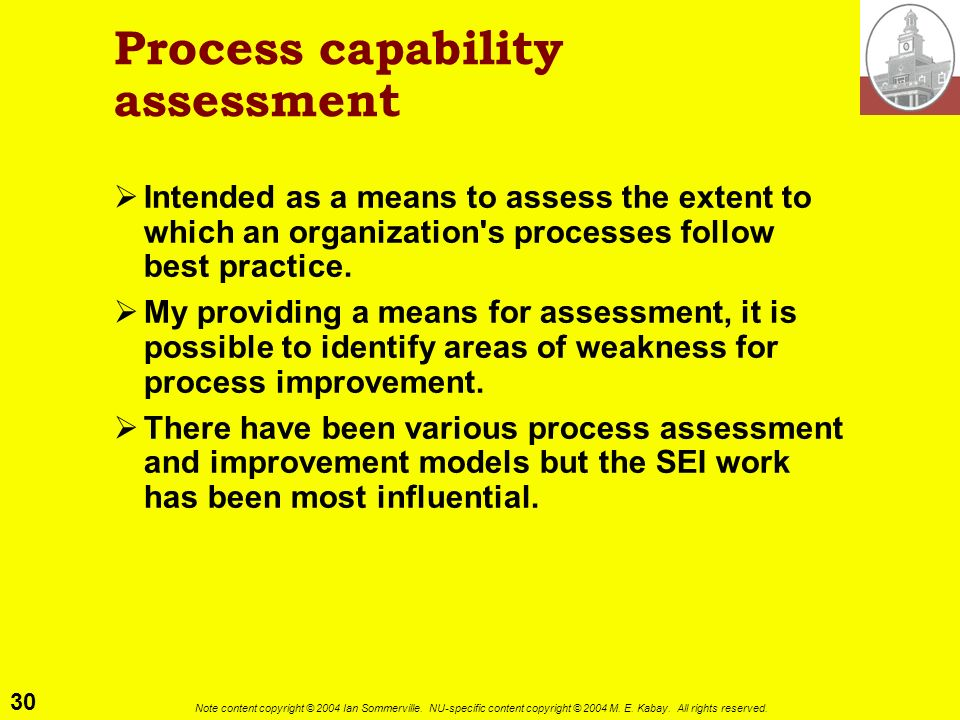 Process capability assessment