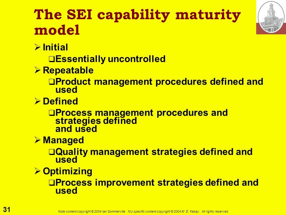 The SEI capability maturity model