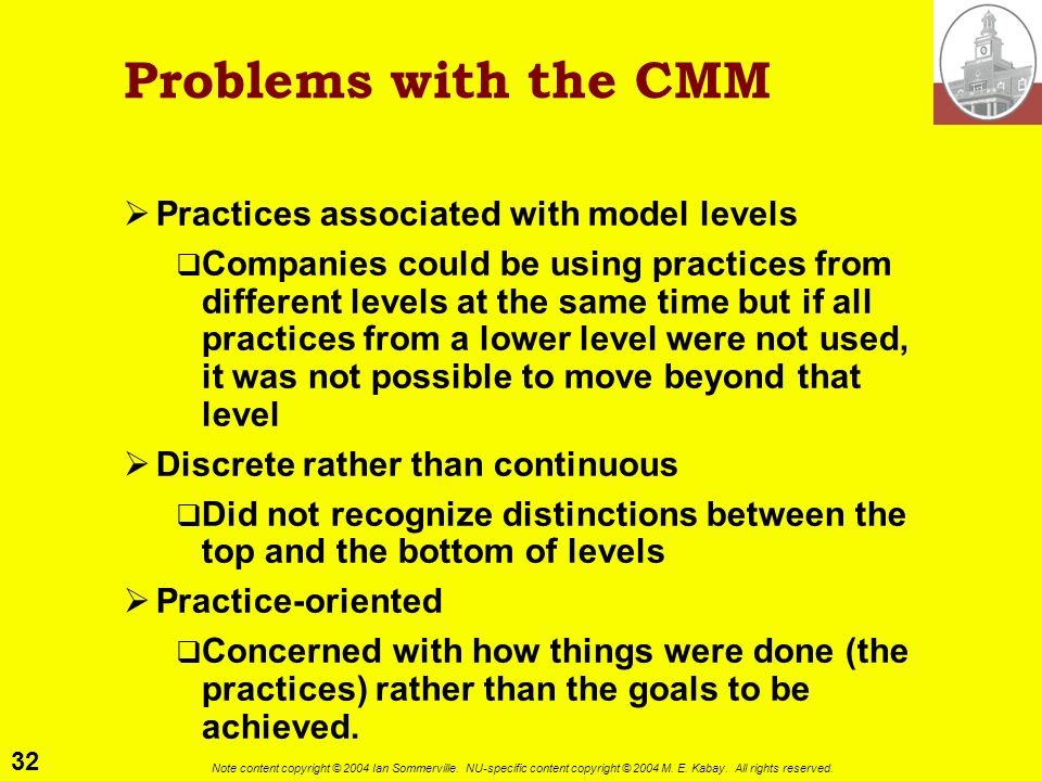Problems with the CMM Practices associated with model levels