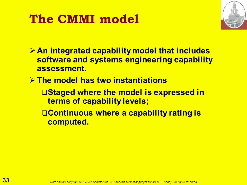 The CMMI model An integrated capability model that includes software and systems engineering capability assessment.