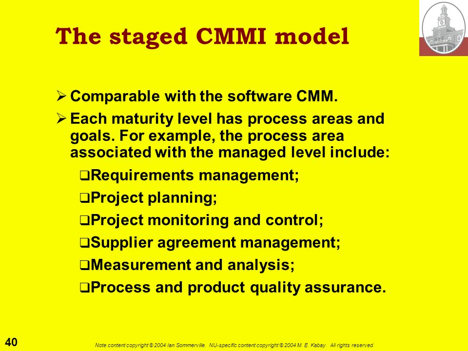 The staged CMMI model Comparable with the software CMM.