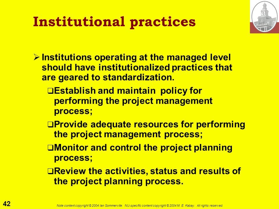 Institutional practices