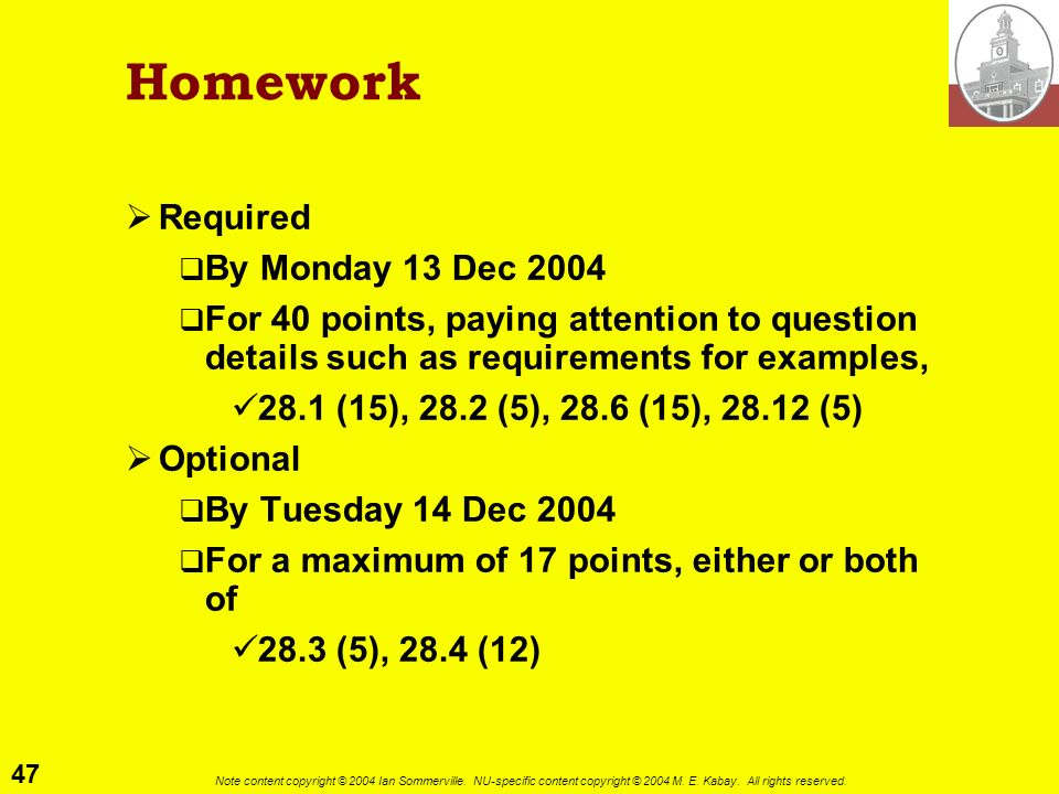 Homework Required By Monday 13 Dec 2004